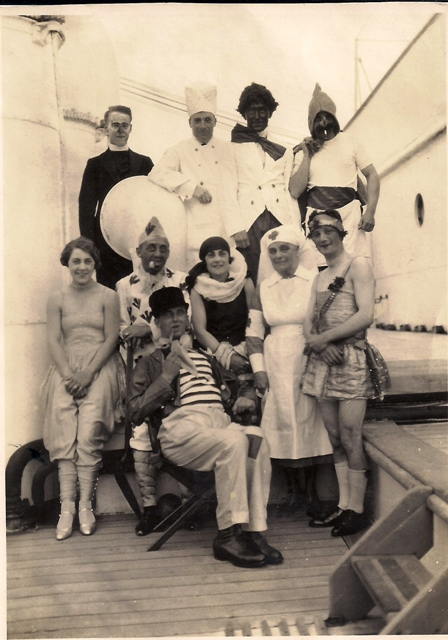 Fancy Dressers on the RMS Oropesa 5 May 1928 - Sproull, Chalmers, Wolfsohn, Mrs Tanner, Miss Whiteley, Mrs Whiteley, 5th Officer Evans, Alf Seeley
