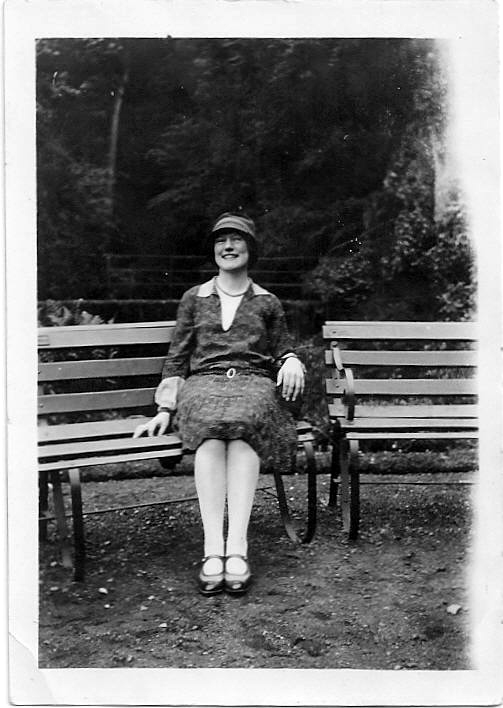 Granny resting on a bench at Alva Glen May 1928