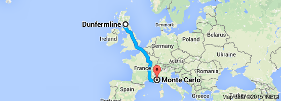 Map Dunfermline to Monte Carlo