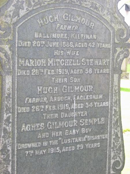 Stewart Gilmour Semple headstone Lusitania